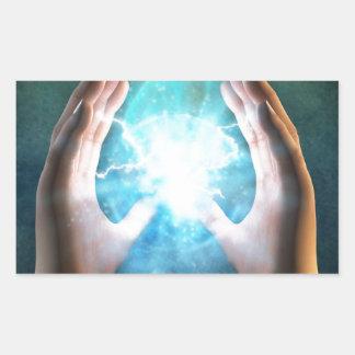 Green flame  powerful healing hands rectangular sticker