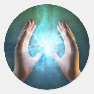 Green flame  powerful healing hands round sticker