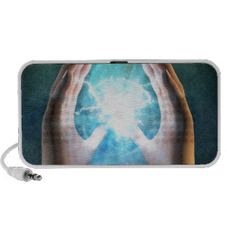 Green flame  powerful healing hands laptop speakers