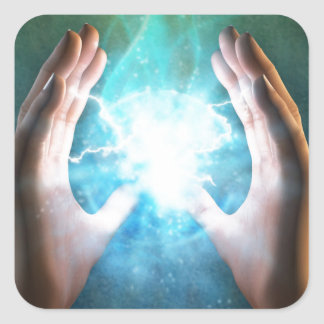 Green flame  powerful healing hands square sticker