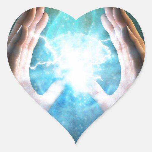Green flame  powerful healing hands heart sticker