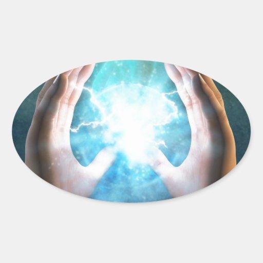Green flame  powerful healing hands oval sticker