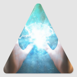 Green flame  powerful healing hands triangle sticker