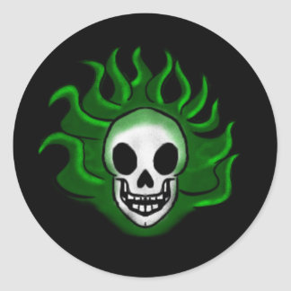 Green Flaming Scull Round Sticker