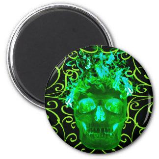 Green Flaming Skull Magnet