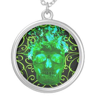 Green Flaming Skull Necklace