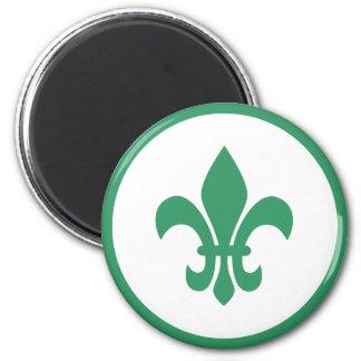 Green Fleur de Lis 6 Cm Round Magnet