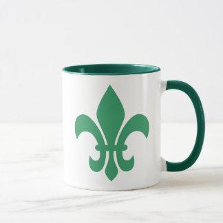 Green Fleur de Lis Mug