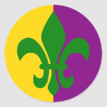 Green Fleur de Lis Round Sticker