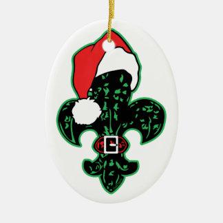 Green Fleur de Santa Double-Sided Oval Ceramic Christmas Ornament