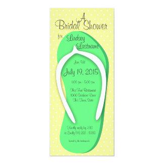 Green Flip Flop Bridal Shower 10 Cm X 24 Cm Invitation Card