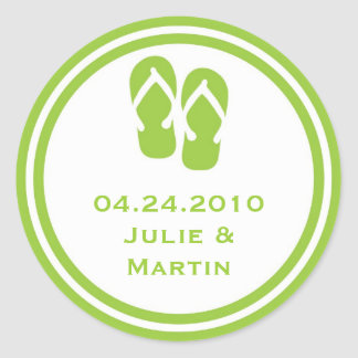 Green flip flop thong wedding favor tag seal label round sticker