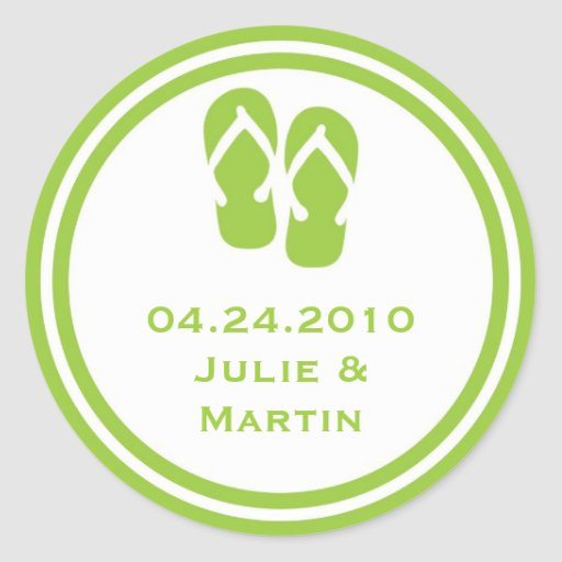 Green flip flop thong wedding favor tag seal label round stickers