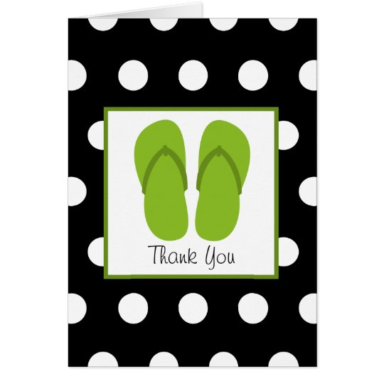 Green Flip Flops / Black With White Polka Dots Card