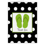 Green Flip Flops / Black With White Polka Dots Greeting Card