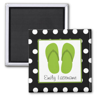 Green Flip Flops / Black With White Polka Dots Square Magnet