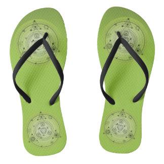 Green Flip Flops. Mandala Flip Flops