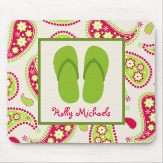 Green Flip Flops / Pink And Green Paisley Mousepad