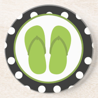 Green Flip Flops & Polka Dots Coaster