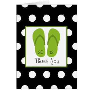 Green Flip Flops / Polka Dots Graduation Thank You Greeting Card