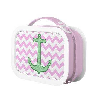 Green Floral Anchor on Pink Chevron Lunch Box