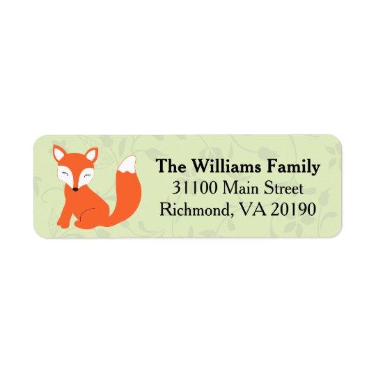 Green Floral Baby Fox Return Address Label
