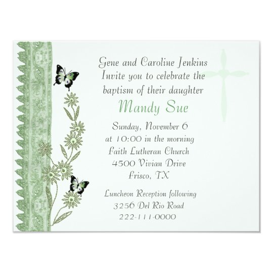 Green Floral Baptism Invitation