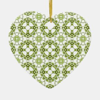 Green floral batik style design ceramic heart decoration
