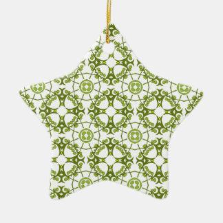 Green floral batik style design ceramic star decoration