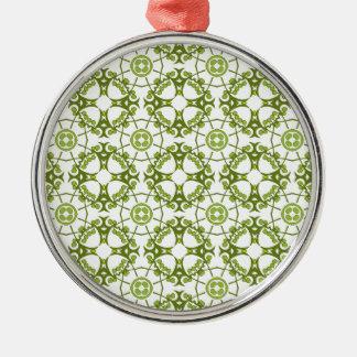Green floral batik style design Silver-Colored round decoration