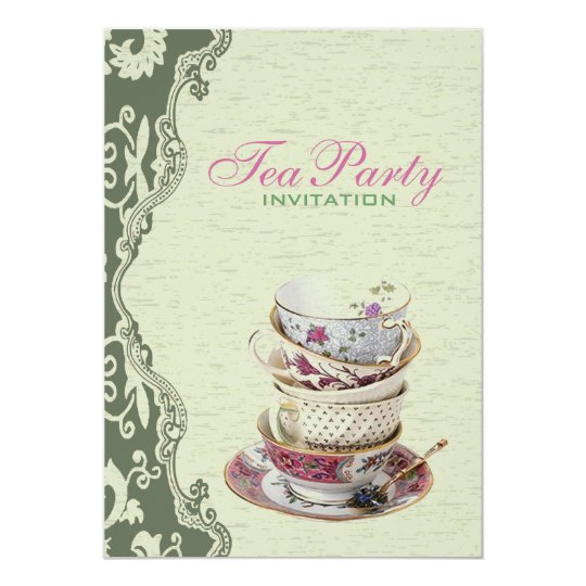 Green Floral Bridal Shower Tea Party Invitation