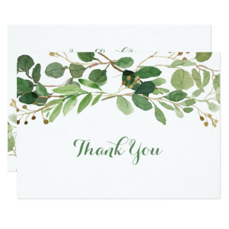 Green Floral Bridal Shower Thank You Card