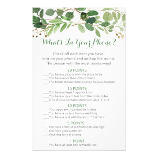 Green Floral Bridal What's In Your Phone Game Flyer
