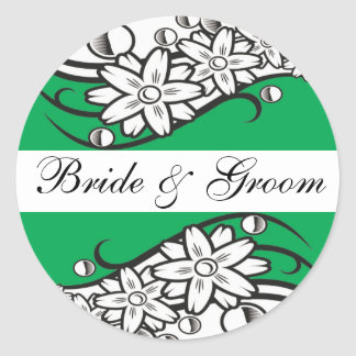 Green Floral bride & Groom Wedding Envelope Seals Round Sticker