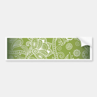 green floral bumper sticker