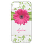 Green Floral Damask Pink Gerber Daisy iPhone 5