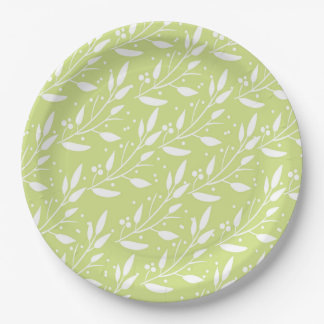 Green Floral Design Party Supply Plate