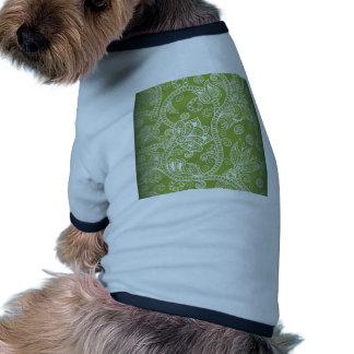green floral pet shirt