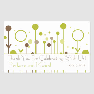 Green Floral Dot Rectangle Stickers