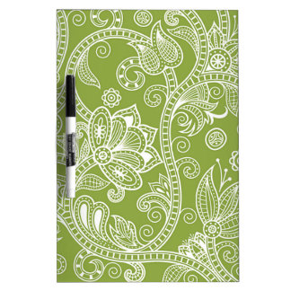 green floral dry erase board