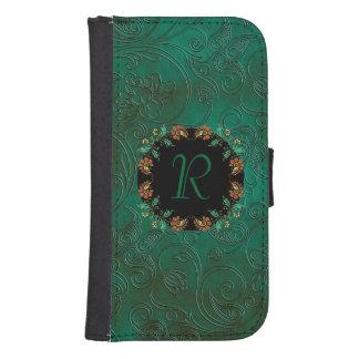 Green Floral Emossed Look Samsung S4 Wallet Case