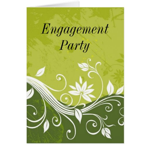 green floral, Engagement Party Card