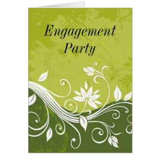 green floral, Engagement Party Greeting Card