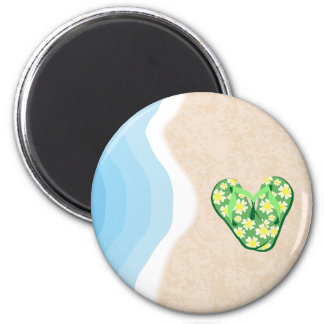 Green Floral Flip Flops on the Beach Magnet