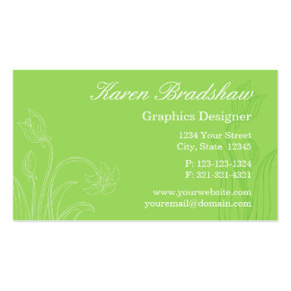Green Floral Graphic Designer Business Cards