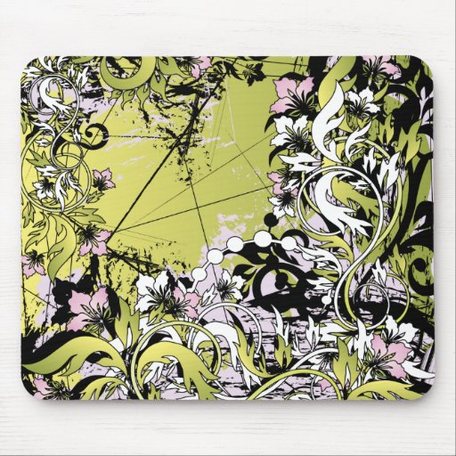 green floral grunge mouse mats