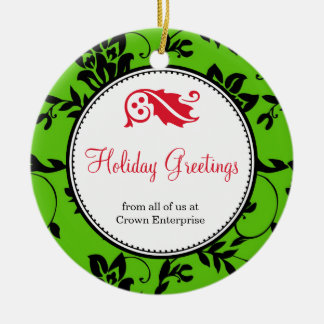 Green floral holiday greeting custom business logo christmas ornament