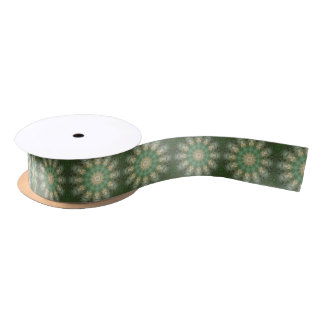 Green Floral Medallion Satin Ribbon