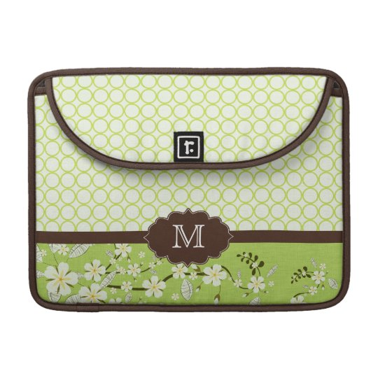 Green floral modern monogram macbook pro sleeve