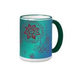 Green Floral Mug